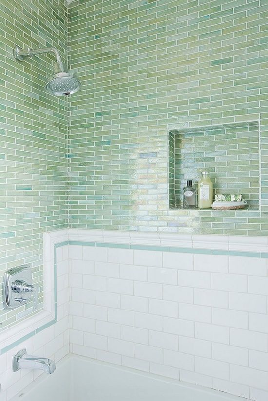 33 chic subway tiles ideas for bathrooms digsdigs for Blue green bathroom ideas