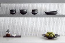 26 this modern kitchen looks stylish white penny tiles and grey sleek shelves