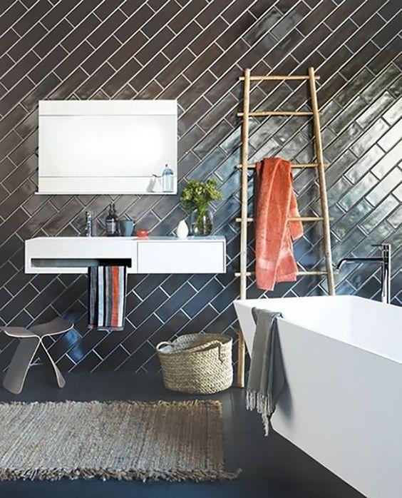 Black Subway Tiles Clad In Diagonal Pattern