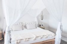 27 boho-inspired bedroom with crispy white curtains