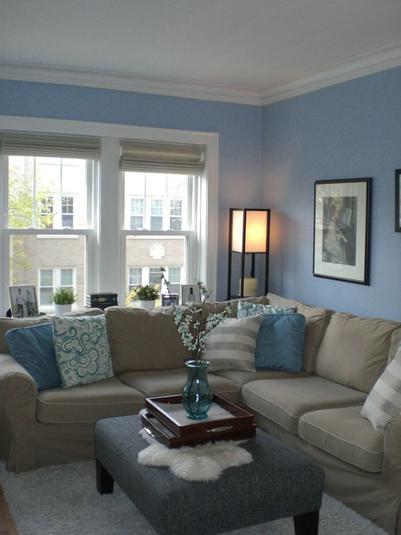 Light Blue Walls And Textiles A Tan Couch Look Refined