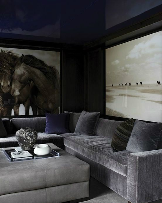 masculine living room with a navy ceiling and a grey velvet sofa