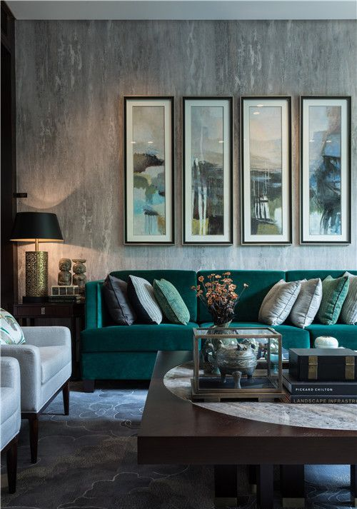 Stylish Grey Living Room With Textural Touches And An Emerald Sofa
