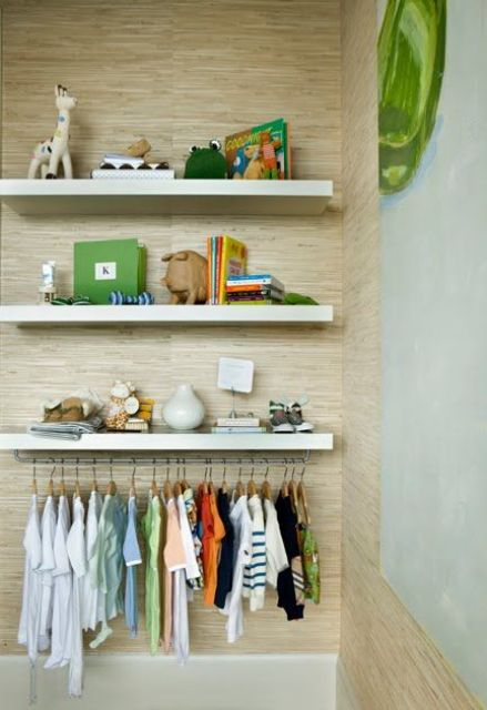 Lack shelves with rail for hanging clothes