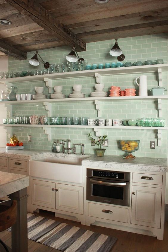 aqua-colored subway tiles for kitchen decor
