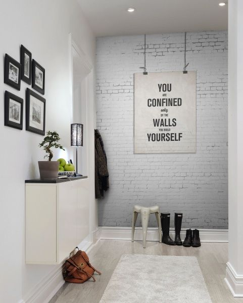 light grey wall made with wallpaper for a modern entryway