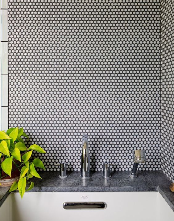 white penny tiles with black grout will add texture to your decor