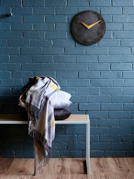 blue grey wall made with wall panels