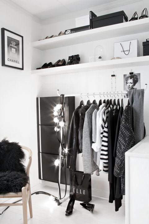 garlands will give additional light to your small closet