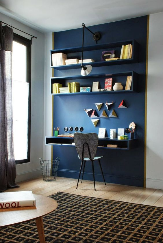 Color passion 30 bold painted accent walls digsdigs navy accent wall show off the home office nook sciox Choice Image