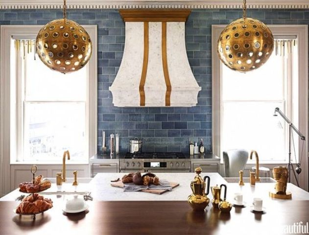 art deco kitchen with blue subway tiles of different shades