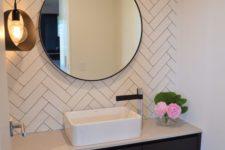 30 classic herringbone clad subway tiles in the sink area