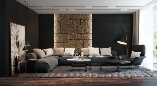 modern living room, black walls, a glitter stone accent piece and an oversized artwork