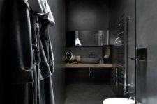 30 narrow minimalist bathroom with tiled walls and floors