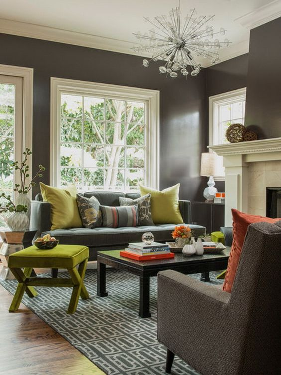 Beautiful Shades Of Grey Living Room With Lime Green Accents For A Spring Inspired  Ambience