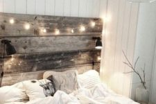 31 light up reclaimed wood headboard makes the bed cozier