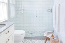 31 offset clad white subway tiles in the shower