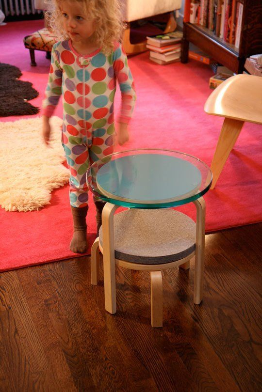 two Frosta stools with changed tops and the second with cut legs