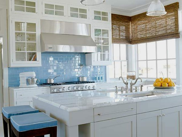 light blue subway tiles for adding a coastal feel in the kitchen