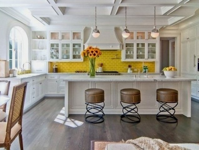 stand out and raise your mood with a sunny yellow kitchen backsplash