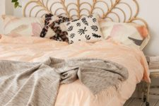 33 rattan headboard for a boho styled bedroom