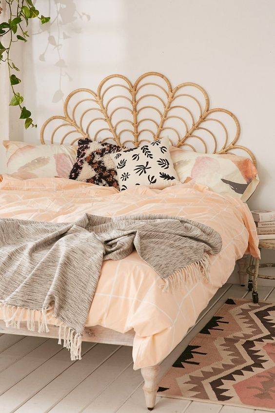 rattan headboard for a boho styled bedroom