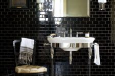 34 Atlantic basin and washstand with glass legs, black subway tiles in offset pattern