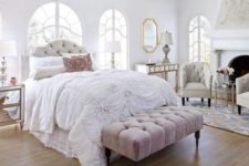 34 a tufted headboard echoes with a tufted bench