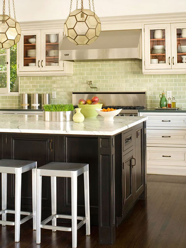 calming and soothing gree subway tiles to make your kitchen peaceful