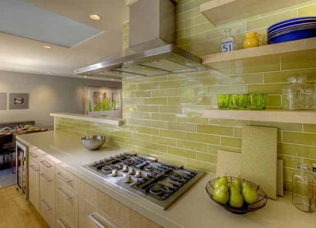 lime green tiles look great with natural light wood and create a feeling of being outside