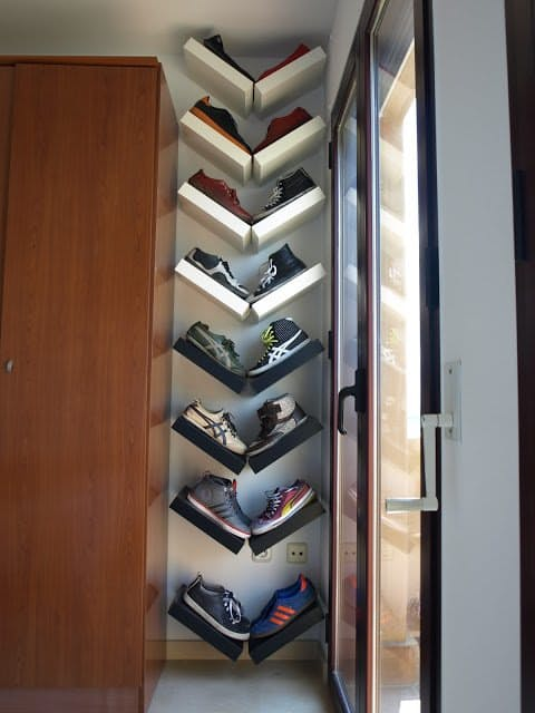 shoe storage for a small space with Lack shelves