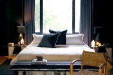 chic bedroom with an art deco twist and geometric and gold details