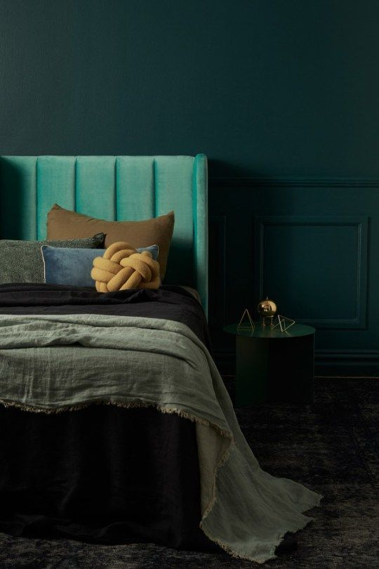 Teal And Black Bedroom