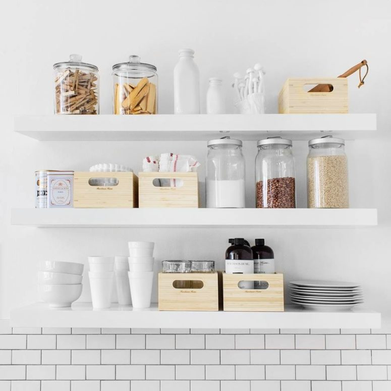 These shelves are perfect to organize your grains and kitchen supplies. They also look great on plain subway tiles. (Murchison-Hume)
