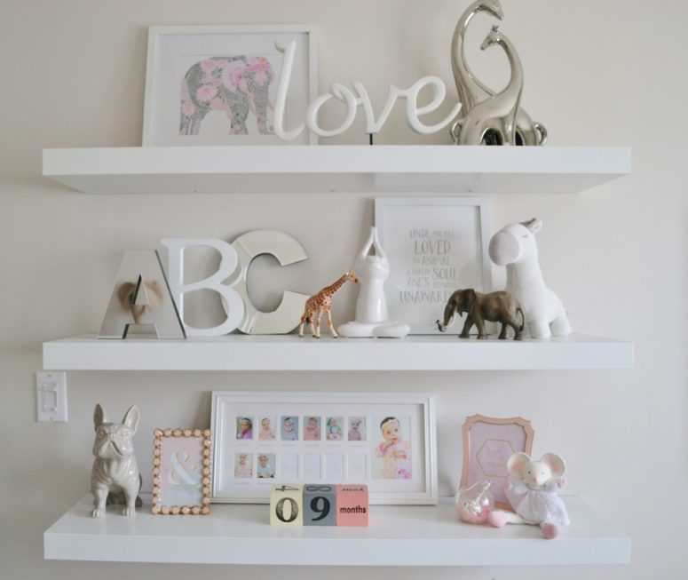 In a nursery you can display some cute animals on these practical shelves. (Emily Tait Designs)