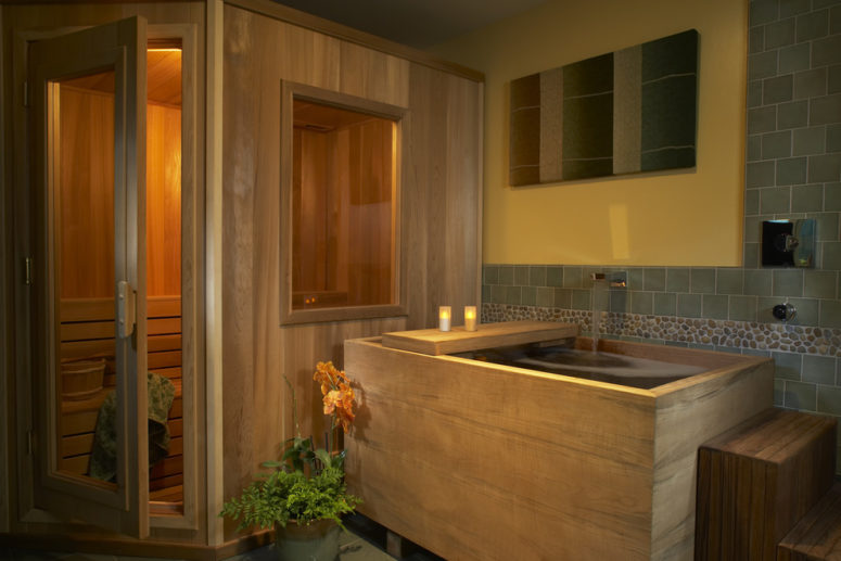 a cozy bathroom with a Japanese tub and a sauna (Harrell Remodeling, Inc. / Design + Build)