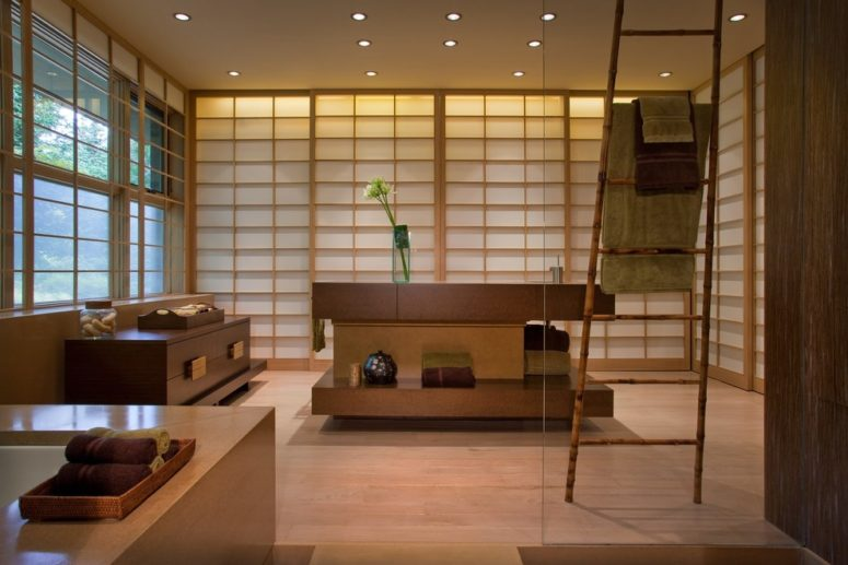 this bathroom combines asian touches with contemporary details (CustomMade.com)