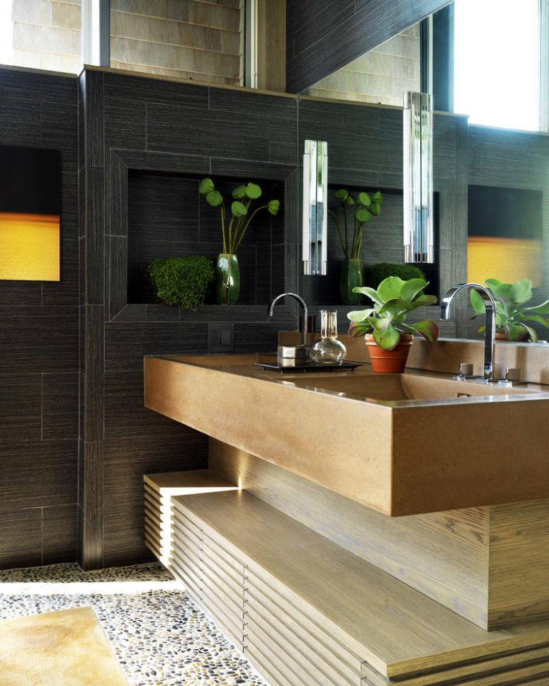 greenery makes any bathroom more spa-a-like (Livingstone Concrete Studio)