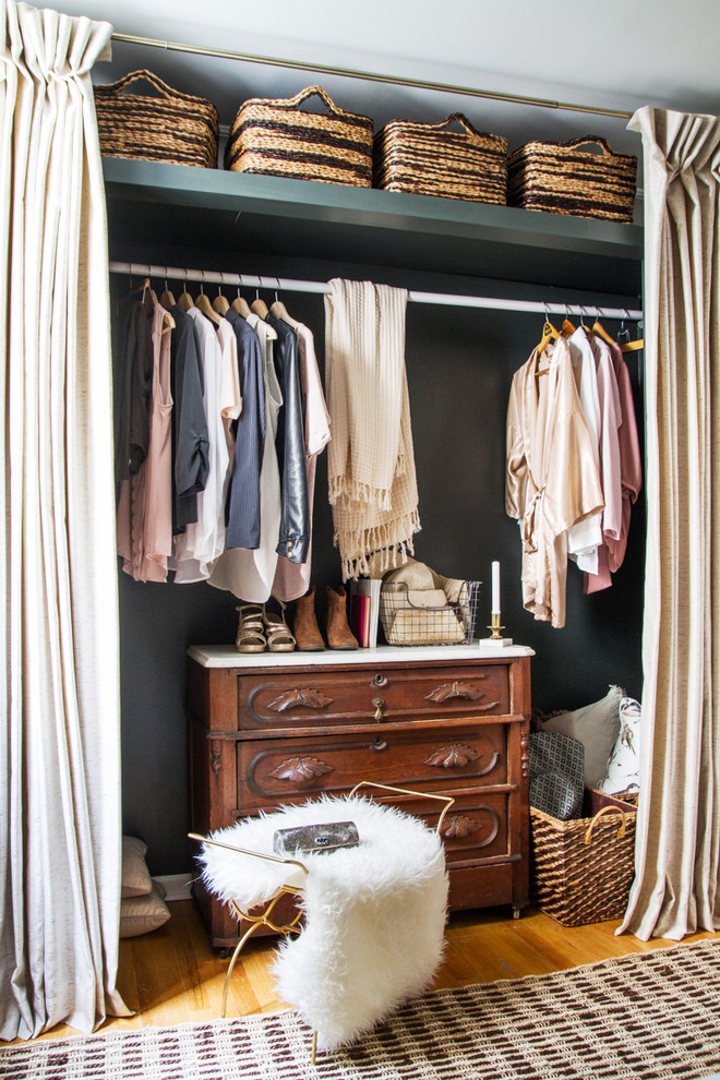 a leading rack is a must even a such simple closet behind curtains (Kelly Peloza Photo)
