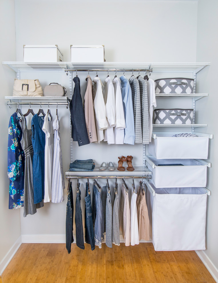 canvas baskets and laundry hampers can fit lots of stuff in your walk-in closet (Organized Living)