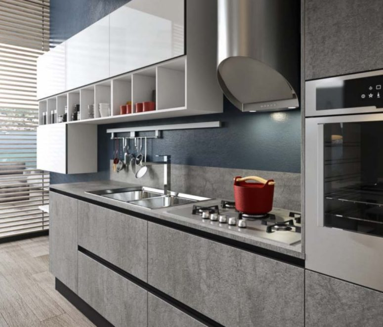 Bijou kitchen by Aran features glass, stone, laminate and porcelain as the most practical surfaces