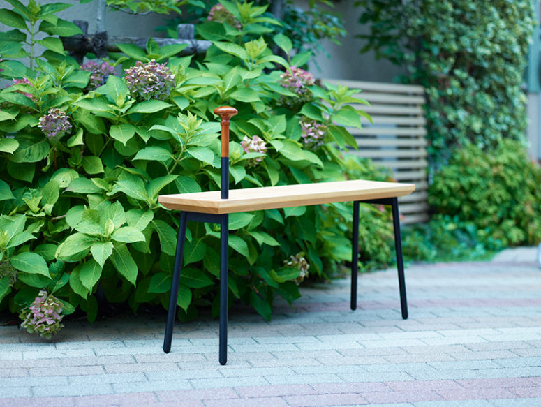 Each version of the dōzo bench is complete with a purpose made cane