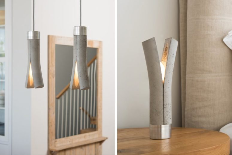 These unique Release lamps are made of concrete and metal, these are minimalist eye candies available in pendant and table versions