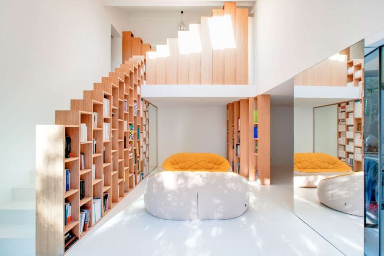 Gleaming And Creative Bookshelf House In Paris