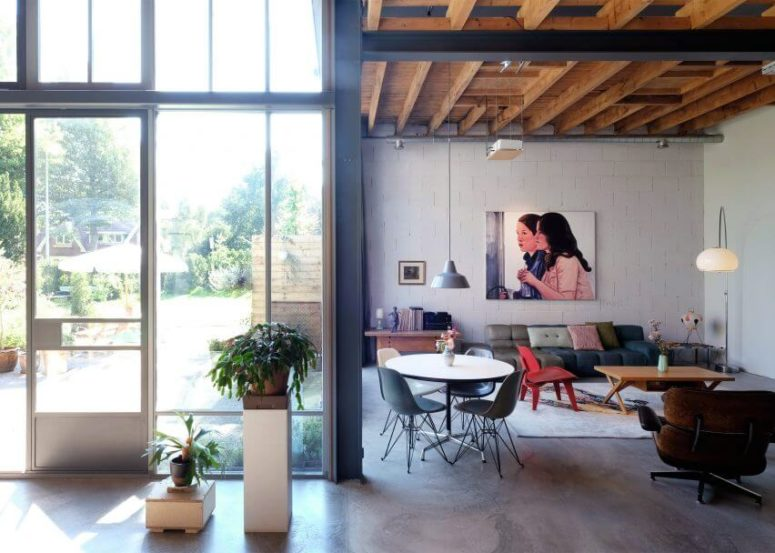 Industrial And Mid Century Modern Loft In An Old Barn