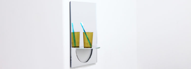 U Mirror With An Integrated Shelf For Small Bathrooms