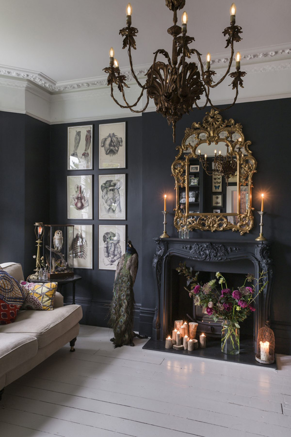 this Victorian home strikes with moody colors and decadent details that contrast with the modern world so much