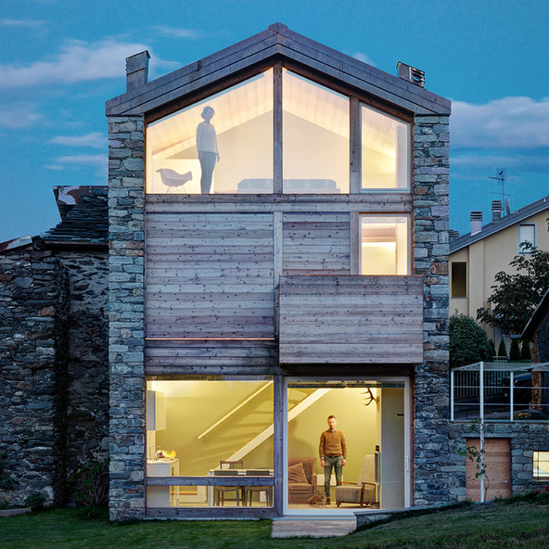 It was a restoration of stone ruins, and the house was turned into a modern mountain cottage