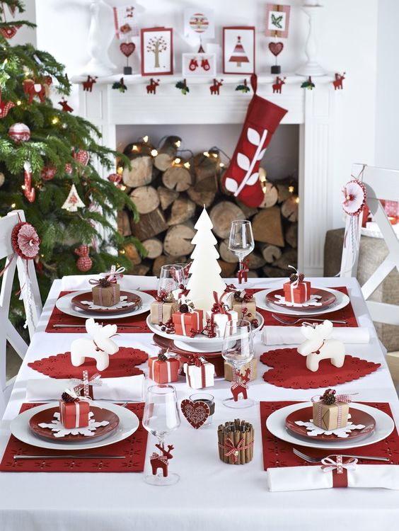 A Modern Red And White Table Setting Wwhite Ornaments Stockings
