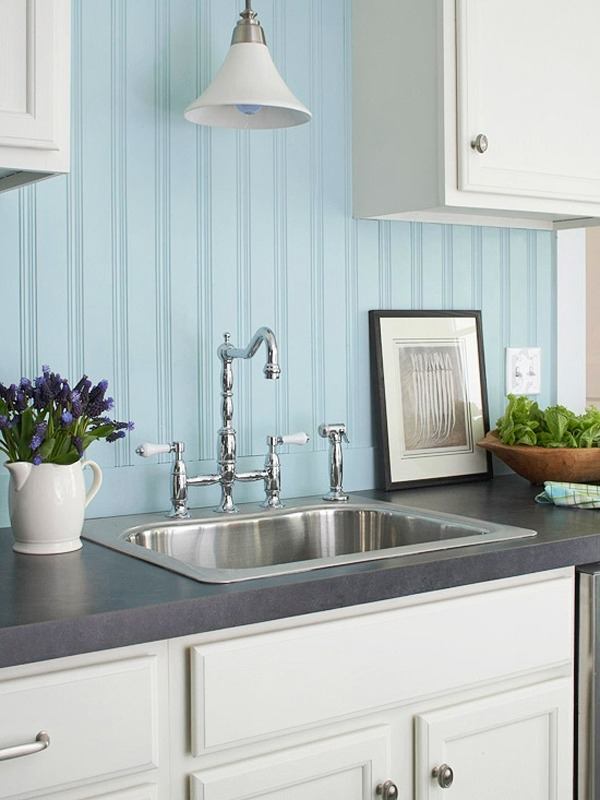 light blue beadboard backsplash is ideal for a seaside kitchen
